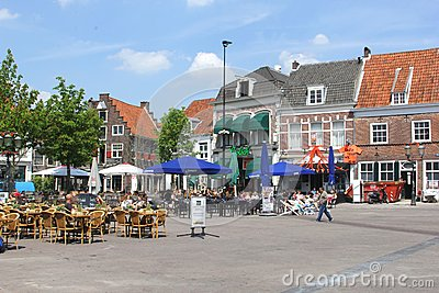 People at scenic cosy terraces at the Hof in Amersfoort, Netherlands Editorial Stock Image