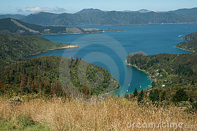 Scenic view across Marlborough Sounds.