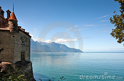 Scenic view of Chillon castle, Montreux (Switzerla