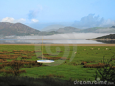Scenic view of Dwyryd Estuary in Wales