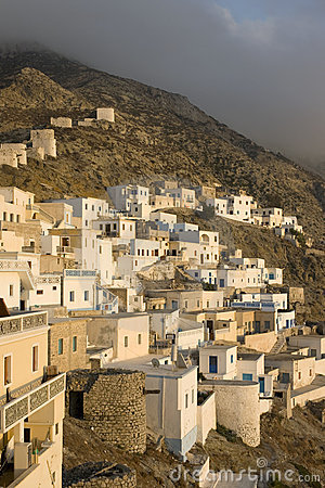 Scenic view of Olympos at dusk - Karpathos