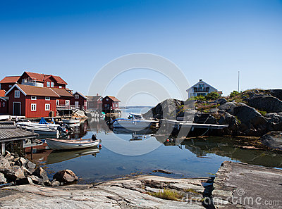 Scenic view over small harbor in Sweden