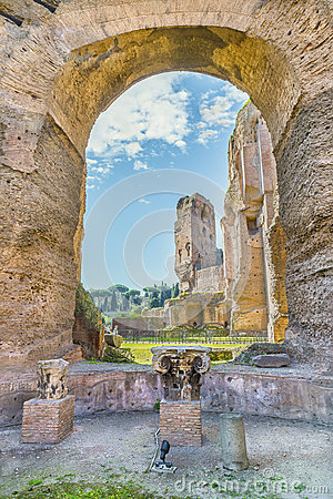Free Scenic View Through The Arch And Columns On The Ruins Of Ancient Roman Baths Of Caracalla Royalty Free Stock Photography - 73626857