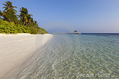 Scenic view of tropical island at morning