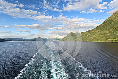 View of Storfjord from cruise liner, Norway - Scandinavia