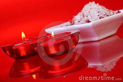 Scented bath salts and candles