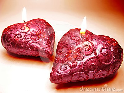 Scented spa aroma pink candles set heart shape