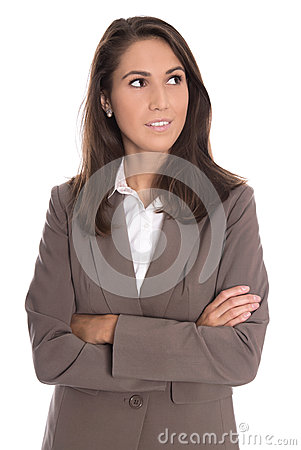Free Sceptically Isolated Business Woman In Brown Blazer Looking Side Stock Photo - 44657600