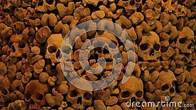 Schädel und Knochen in einer Wand stock video footage