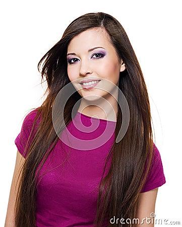 Schöne Frau mit toothy Lächeln