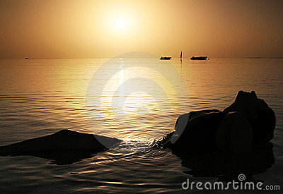Schönheit im Roten Meer am Sonnenaufgang