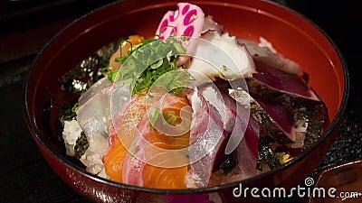 Schüssel Sashimi stock video footage