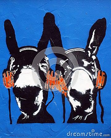 Schablone-Graffiti-Esel Redaktionelles Stockfoto