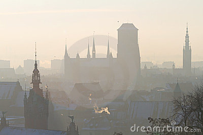 Schattenbild der alten Stadt in Gdansk