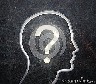 Schattenbild eines männlichen Gesichtes mit einer glühenden Frage