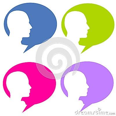 Schattenbild-Kopf-Gesprächs-Luftblasen