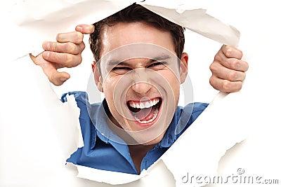 Schauen durch Papierloch