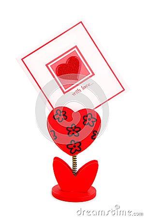 Scheda in bianco con cuore rosso