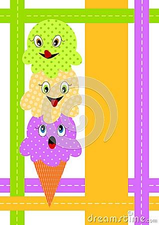 Scheda dell invito del cono di gelato