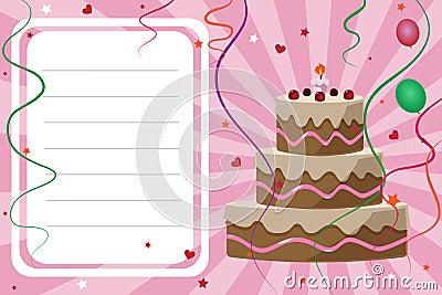 Scheda dell invito di compleanno - ragazza