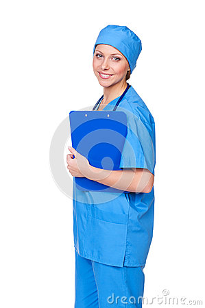 Scheda e sorridere di clip della holding dell infermiera