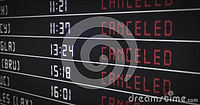 Scheda informativa di volo con voli annullati Gli orari di arrivo e di partenza nella scheda informazioni vengono modificati in a illustrazione di stock