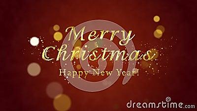Scheda video con le congratulazioni natalizie Testo d'oro decorativo, coriandoli Modello introduttivo dell'introduzione artistica archivi video