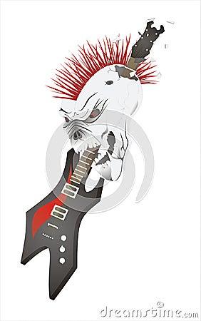 Schedel met gitaar.