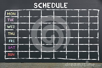 Schedule on board for planning. Stock Photo