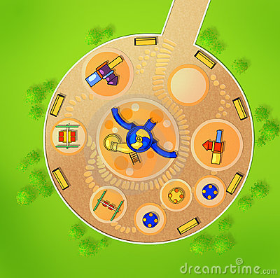 The scheme of the playground from above.