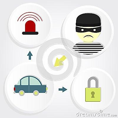 scheme robbery car stock vector image 43609320. Black Bedroom Furniture Sets. Home Design Ideas