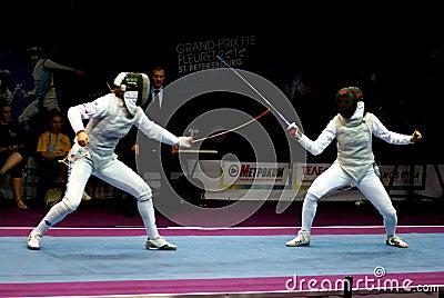 Schermende wereldkop 2010 Shanaeva versus Eriggo Arianna Redactionele Stock Foto