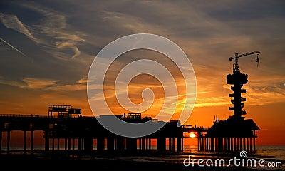 Scheveningen pier at sunset