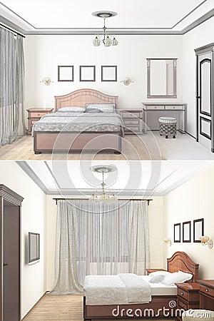 Schizzo 3d di una camera da letto interna fotografie stock for Camera letto 3d