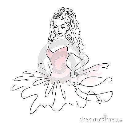 Schizzo della ballerina Disegno espressivo di balletto della ragazza ...