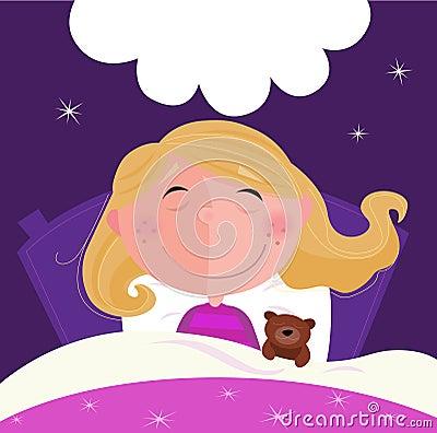 Schlafendes und träumendes Mädchen im rosafarbenen Pyjama