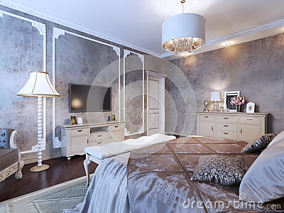 Dunkles Teures Schlafzimmer Stockfoto - Bild: 54412168
