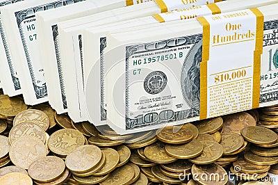 Schließen Sie oben von den Dollar