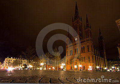 Schlossplatz at Night in Wiesbaden