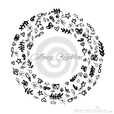 Sch ma illustration de d coration de joyeux no l noir et - Joyeux noel noir et blanc ...
