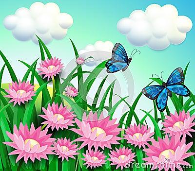 Ein Garten Mit Blühenden Blumen Und Einem Schmetterling Vektor ... Blumen Schmetterlinge Im Garten