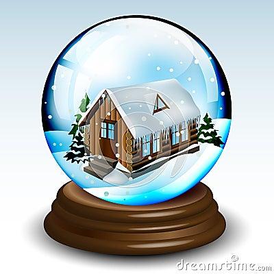 schneekugel mit winterhaus lizenzfreies stockfoto bild. Black Bedroom Furniture Sets. Home Design Ideas