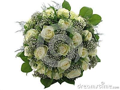 Schöner Hochzeitsblumenstrauß getrennt auf Weiß