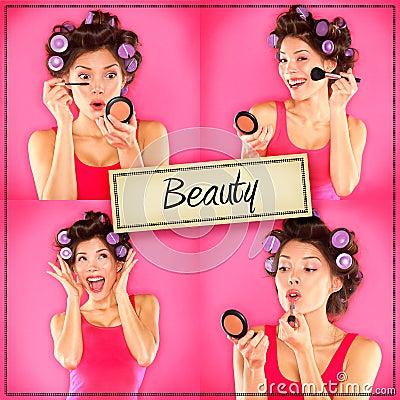 Schönheitsfrauenmake-upkonzeptcollagen-Reihe auf Rosa