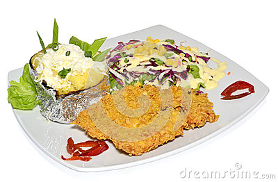 Schnitzel with garnish