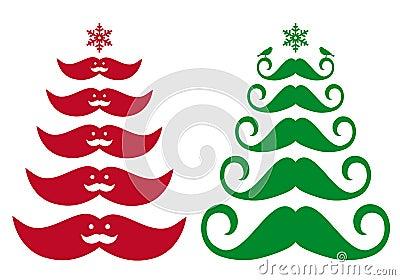 Schnurrbart-Weihnachtsbaum, Vektor