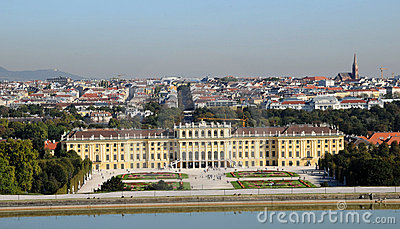 Schonbrunn palace - panorama of Vienna Editorial Stock Photo