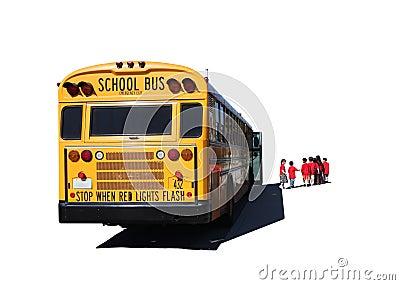 School Aged Children Departing a School Bus