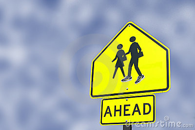 School Ahead Sign Boy With Shoes