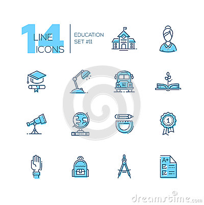 Free School And Education - Line Icons Set Stock Photography - 86082722